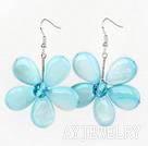 水晶浅蓝色贝壳花朵耳环 编花款