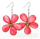 水晶粉红色贝壳花朵耳环 编花款