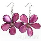 水晶紫色贝壳花朵耳环 编花款