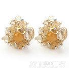 黄水晶夹式耳环