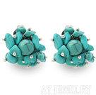 绿松石夹式耳环