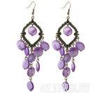 紫色贝壳耳环