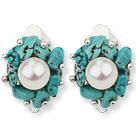 松石白珍珠夹式耳环 耳夹款