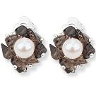 茶晶白珍珠夹式耳环