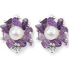 紫晶白珍珠夹式耳环
