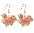 8-9mm 橘色珍珠簇状耳环