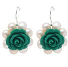 珍珠绿色花朵耳环 编花款