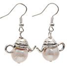天然白珍珠小茶壶耳环