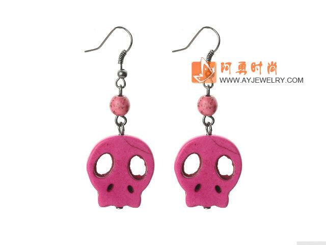 粉色松石耳环 骷髅耳坠 6对装