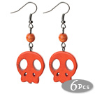 橙红色松石耳环 骷髅耳坠 6对装