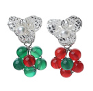 白珍珠红玛瑙绿玛瑙耳环 圣诞节款