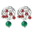 红玛瑙绿玛瑙耳钉 圣诞节款