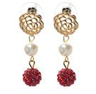 白珍珠 红色水钻球耳环 耳坠唯美款