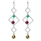 绿玛瑙血石耳环配镶钻合金耳钩铃铛 圣诞节款