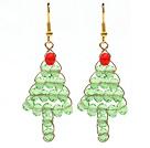 圣诞节款 水晶圣诞树耳环 配金属耳钩