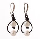 白珍珠耳环 皮绳款