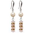 白珍珠 粉水晶耳环