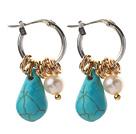 白珍珠 绿松石耳环