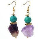 绿松石 异形紫水晶耳环