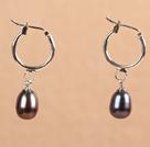 优雅深灰色珍珠耳环