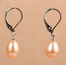 粉珍珠耳环 配刀扣