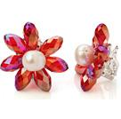 人造水晶天然珍珠耳环 编花耳夹款