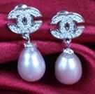 时尚紫珍珠耳钉