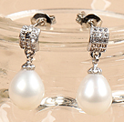 时尚白珍珠水滴耳钉