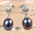 时尚黑珍珠水滴耳钉