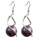 切面紫晶时尚耳环