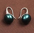 简约孔雀绿珍珠耳环