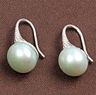 简约薄荷绿珍珠耳环