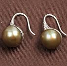 简约金棕色珍珠耳环