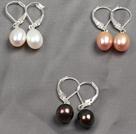 经典白粉黑珍珠耳环三件套(三对装)