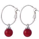 红色海贝珠耳环 简约耳圈款