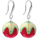 白绿红色毛线球耳环 配合金耳钩