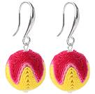 红黄色毛线球耳环 配合金耳钩