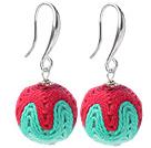 红绿色毛线球耳环 配合金耳钩