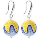 蓝黄白色毛线球耳环 配合金耳钩