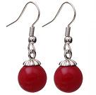 10mm 红色海贝珠耳环 简约耳钩款
