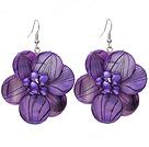 紫色条壳花耳环 配紫色珍珠花心 编花款