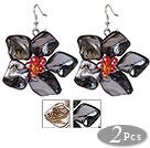 珍珠贝壳贝壳花朵耳环 编花款 2对装