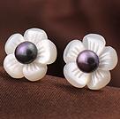 珍珠贝925纯银梅花耳环 花朵耳钉款