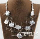 方块异形白珍珠项链
