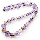 天然双色紫黄晶塔链