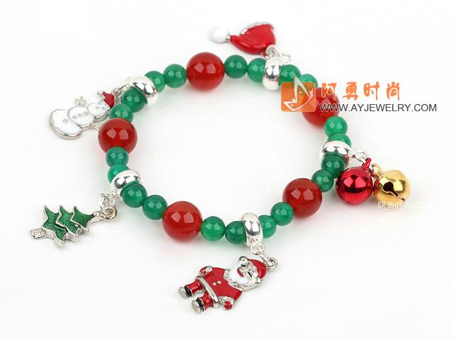 红绿玛瑙圣诞节弹力手链