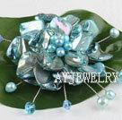 蓝绿色珍珠贝壳花胸针