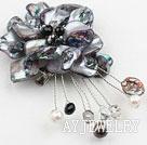 黑色珍珠贝壳花胸针