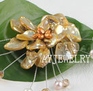 黄色珍珠贝壳花胸针