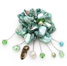 绿色珍珠贝壳花胸针